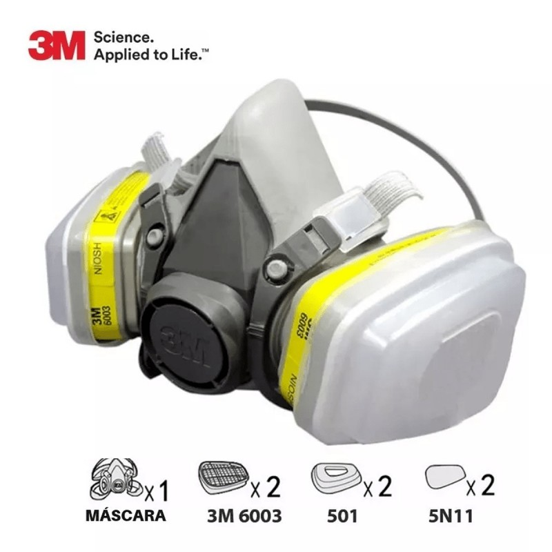 Kit Respirador Reutilizable 3m 6200+cartuchos 6003+prefiltro